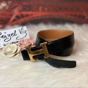 Authentic Hermes Gold H Belt Reversible